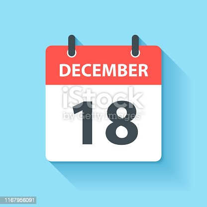 December 18. Calendar Icon with long shadow in a Flat Design style. Daily calendar isolated on blue background. Vector Illustration (EPS10, well layered and grouped). Easy to edit, manipulate, resize or colorize.