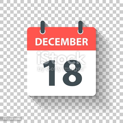 December 18. Calendar Icon with long shadow in a Flat Design style. Daily calendar isolated on blank background for your own design. Vector Illustration (EPS10, well layered and grouped). Easy to edit, manipulate, resize or colorize.