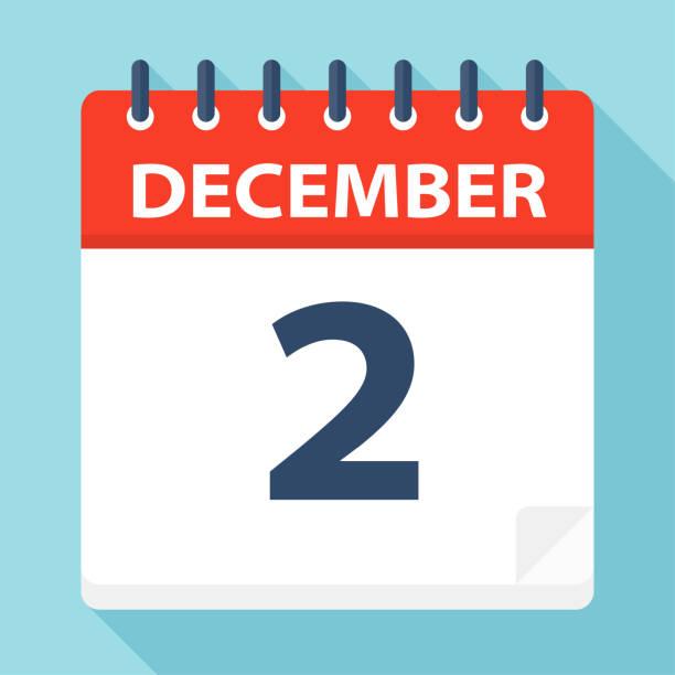 stockillustraties, clipart, cartoons en iconen met 2 december - pictogram van de kalender - december