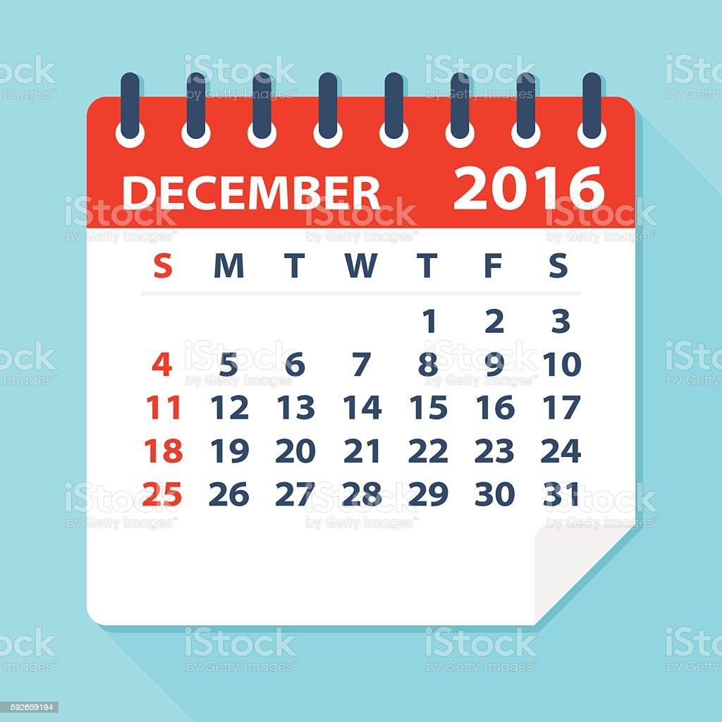 December 2016 calendar - Illustration vector art illustration