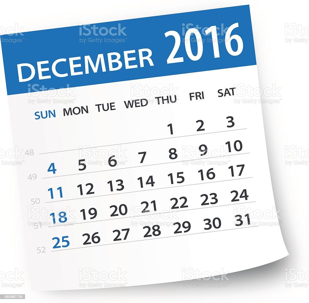 December 2016 calendar leaf - Illustration vector art illustration