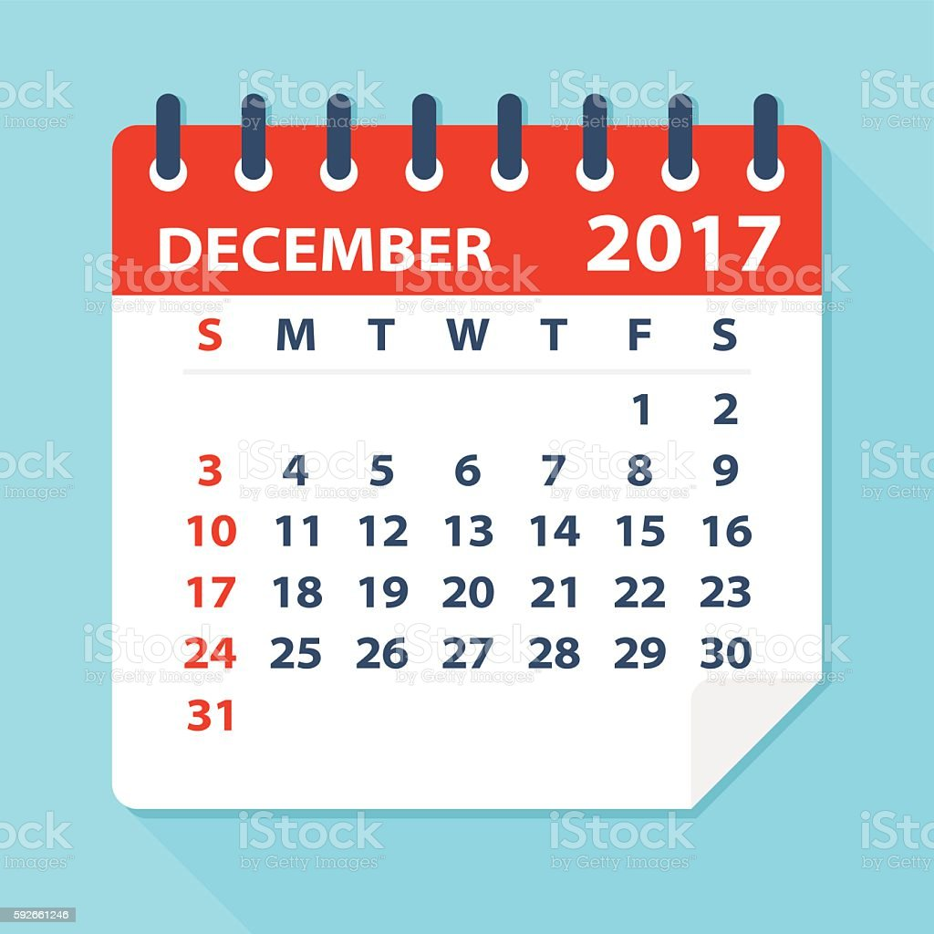 December 2017 calendar - Illustration vector art illustration