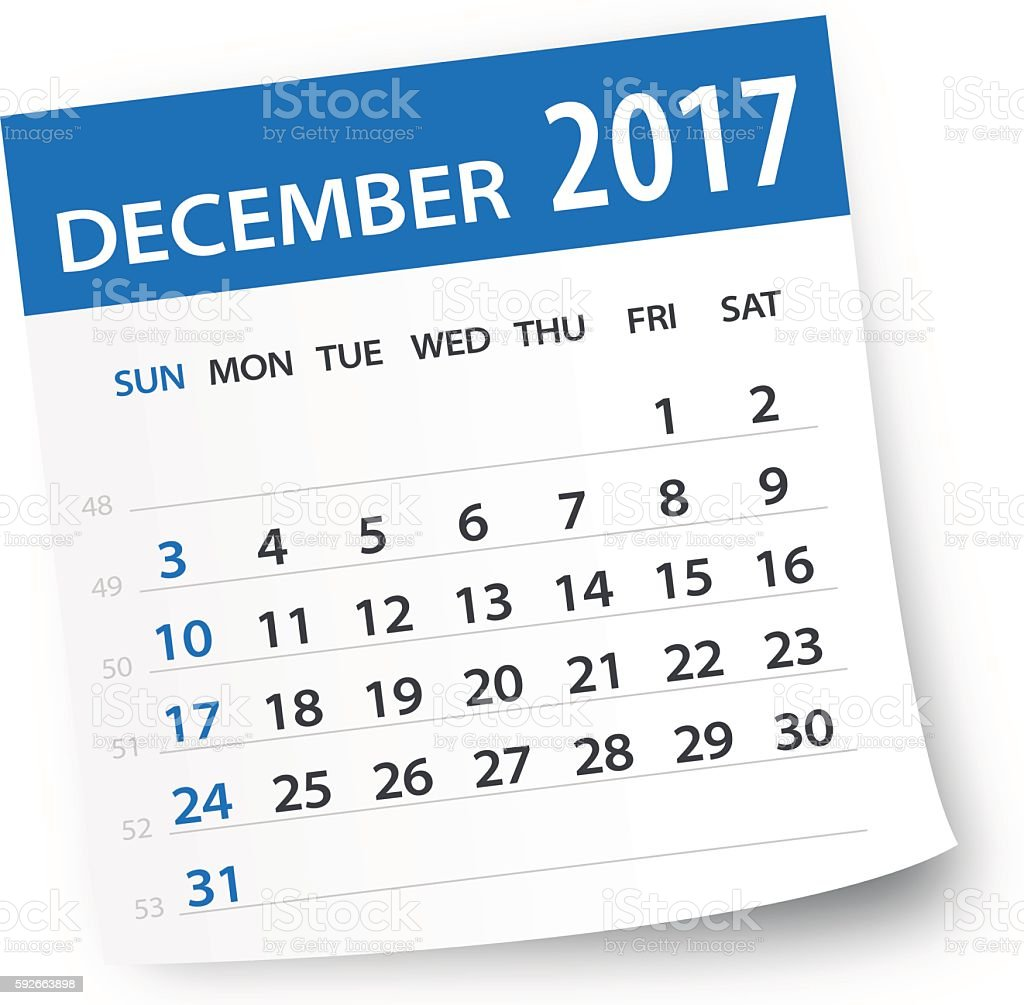 December 2017 calendar leaf - Illustration vector art illustration