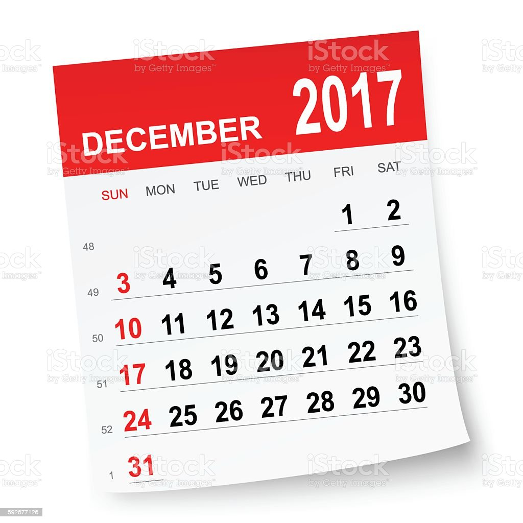 December 2017 calendar vector art illustration