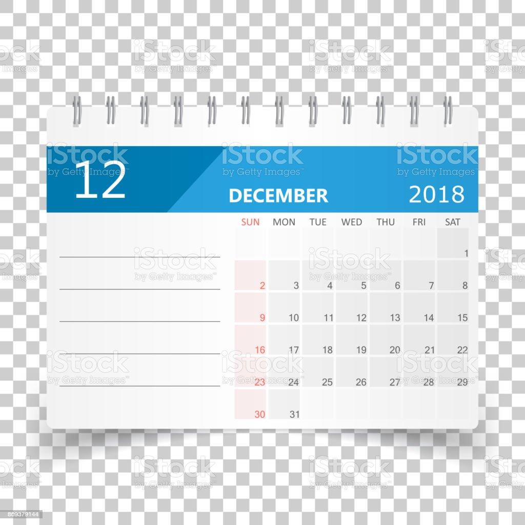 2018 年 12 月カレンダーですカレンダー プランナーのデザイン