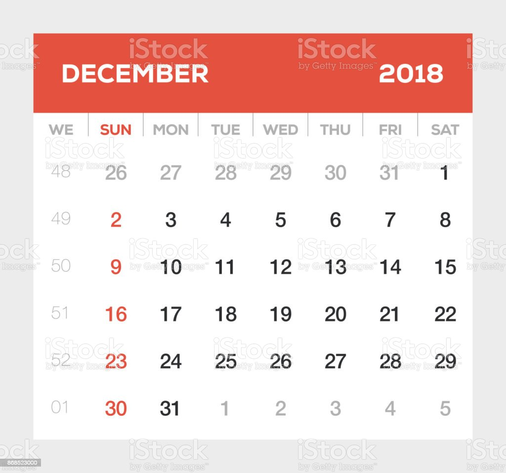 december 2018 calendar royalty free december 2018 calendar stock vector art more images