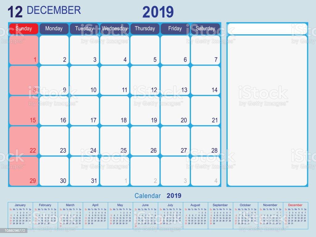 Calendrier Mensuel Decembre 2019.Decembre 2019 Calendrier Mensuel Planificateur Design