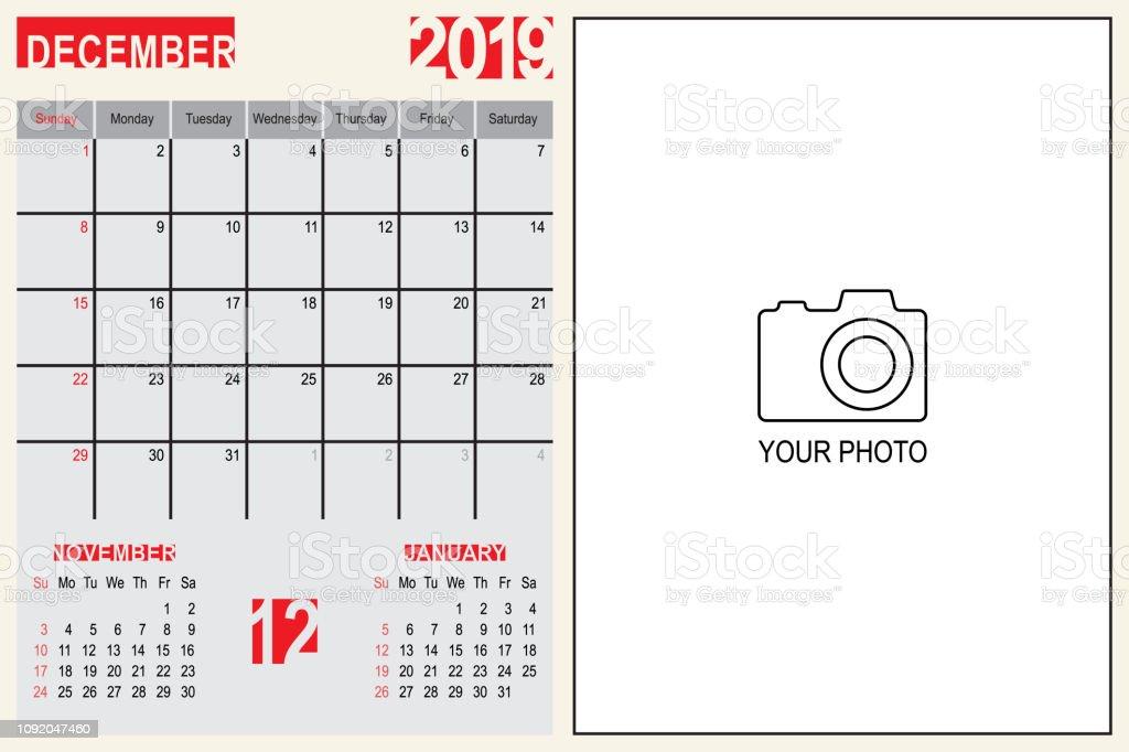 Calendrier Mensuel Decembre 2019.Decembre 2019 Calendrier Mensuel Planificateur Design Avec