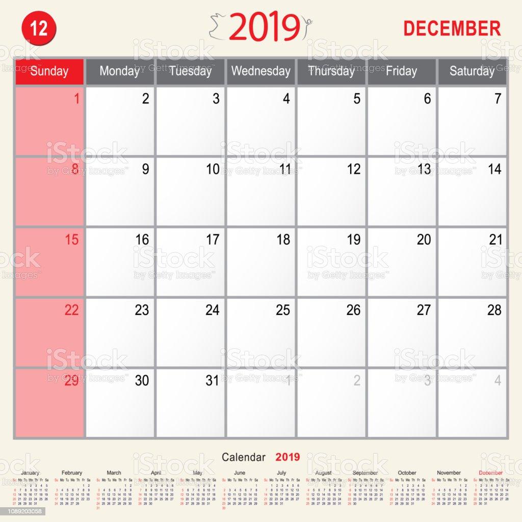 Calendrier Mensuel Decembre 2019.Decembre 2019 Calendrier Mensuel Agenda Du Design De Cochon