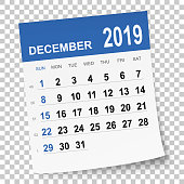 December 2019 calendar isolated on a blank background. Need another version, another month, another year... Check my portfolio. Vector Illustration (EPS10, well layered and grouped). Easy to edit, manipulate, resize or colorize. Please do not hesitate to contact me if you have any questions, or need to customise the illustration. http://www.istockphoto.com/portfolio/bgblue