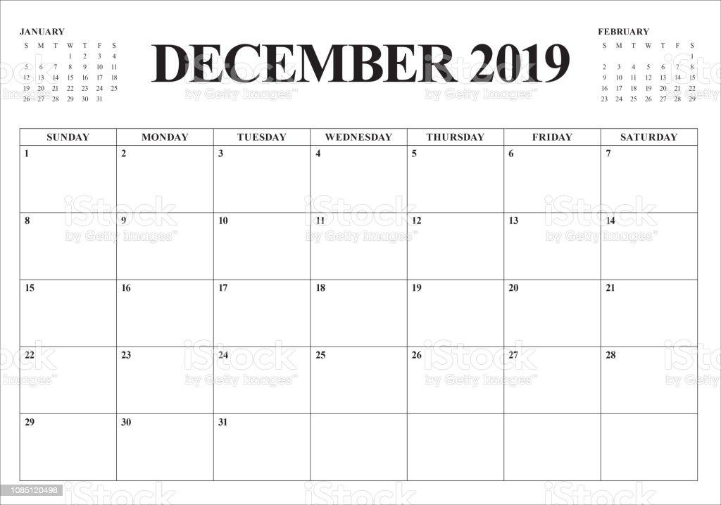2019年 12 月デスク カレンダーのベクトル イラスト 2019年の