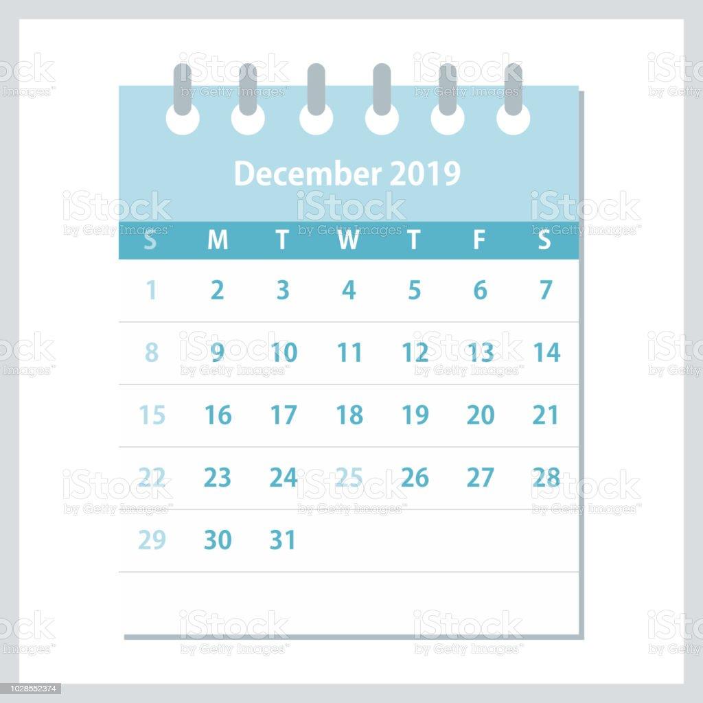 Monthly Calendar Template Vector : December flat calendar monthly design