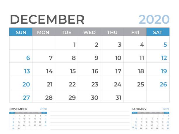 stockillustraties, clipart, cartoons en iconen met december 2020 kalender sjabloon, bureaukalender layout grootte 8 x 6 inch, planner design, week start op zondag, briefpapier design, vector eps10 - december