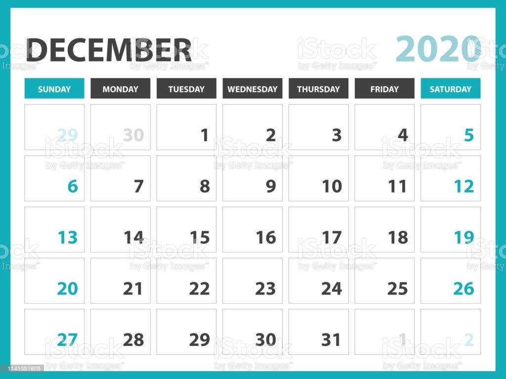 Calendrier De Decembre 2020.Decembre 2020 Calendrier Modele Calendrier De Bureau Mise En