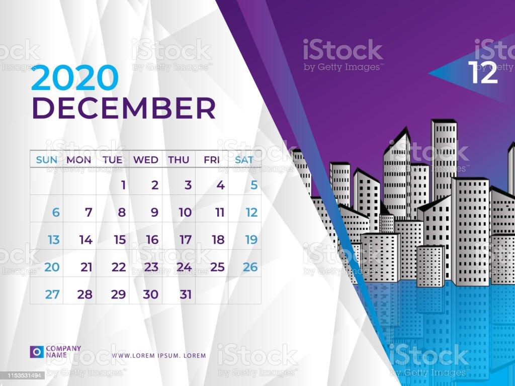 Desk-Sized December 2020 Calendar December 2020 Calendar Template Desk Calendar Layout Size 8 X 6