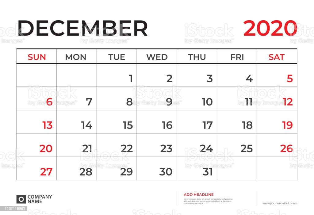 Calendrier Decembre 2020.Decembre 2020 Calendrier Modele Calendrier De Bureau Mise En