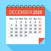 December 2020 - Calendar. Week starts from Monday