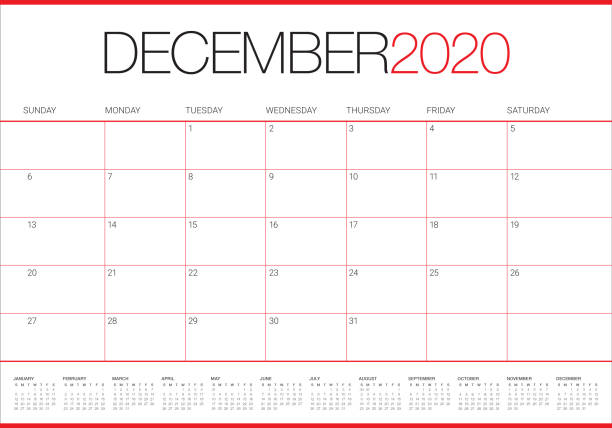 illustrazioni stock, clip art, cartoni animati e icone di tendenza di december 2020 desk calendar vector illustration - dicembre