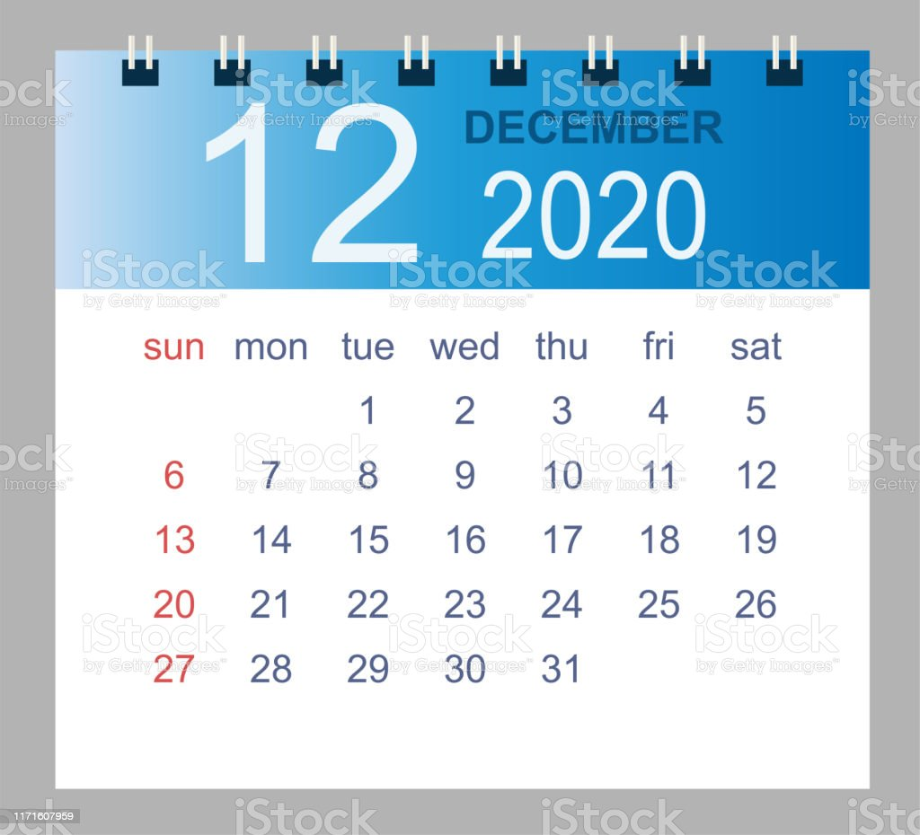 December 2020 Vector Monthly Calendar Template 2020 Year In Simple