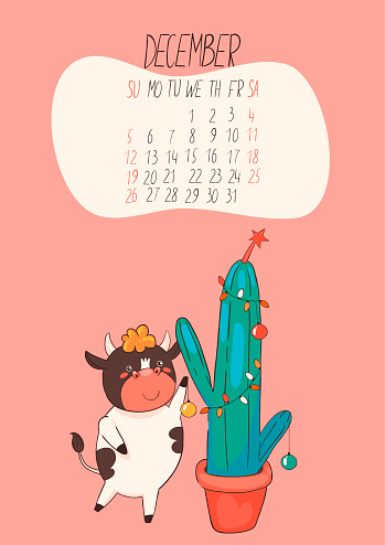 Calendrier De Décembre 2021 Le Taureau Mignon Décore Un Cactus De