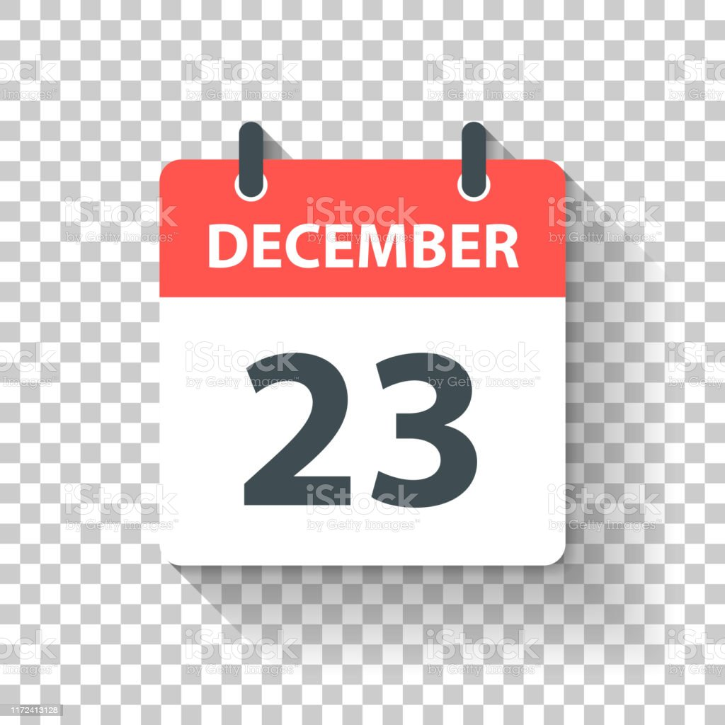 December 23 - Daily Calendar Icon in flat design style - Royalty-free 2019 stock vector