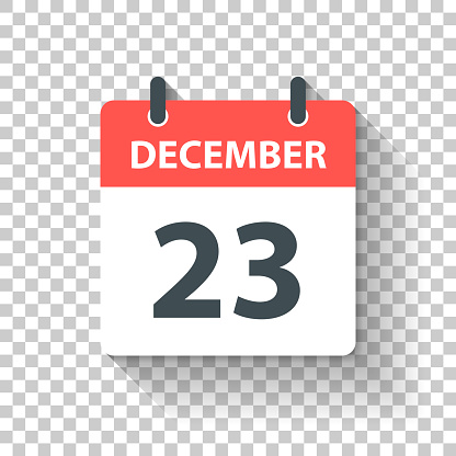 December 23 - Daily Calendar Icon in flat design style