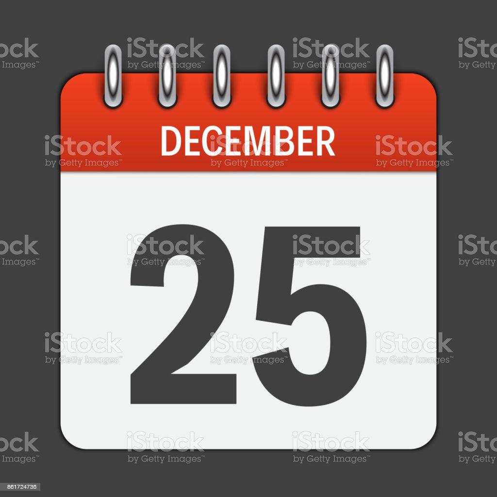 25 Dezember täglich Kalendersymbol. Vektor-Illustration-Emblem. Ele – Vektorgrafik