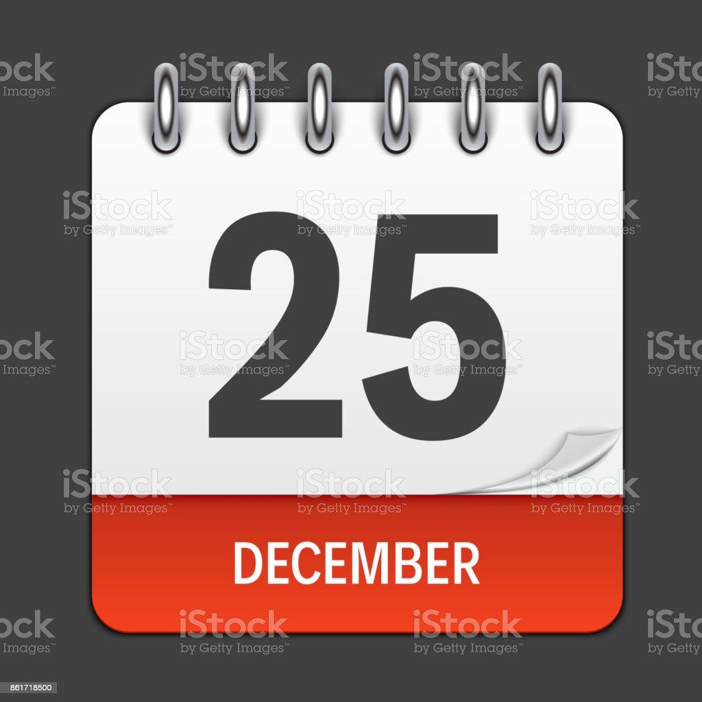 25 Dezember täglich Kalendersymbol. Vektor-Illustration-Emblem. Gestaltungselement für Dekoration-Office-Dokumente und Anwendungen. Logo von Tag, Datum, Monat und Urlaub. Weihnachtszeit – Vektorgrafik