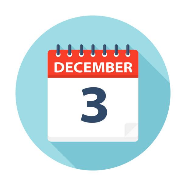 stockillustraties, clipart, cartoons en iconen met 3 december - pictogram van de kalender - december