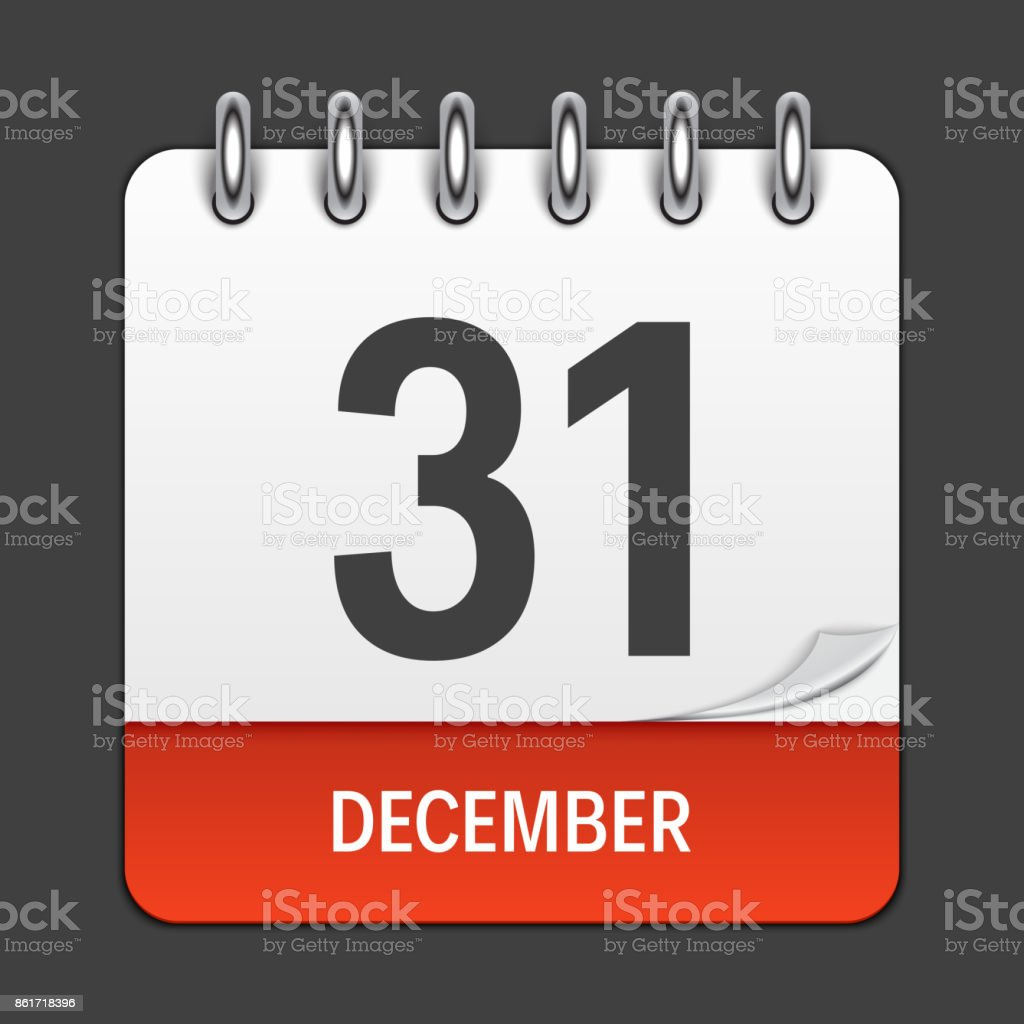 December 31 Calendar Daily Icon. Vector Illustration Emblem. Element of Design for Decoration Office Documents and Applications. Logo of Day, Date, Month and Holiday vector art illustration
