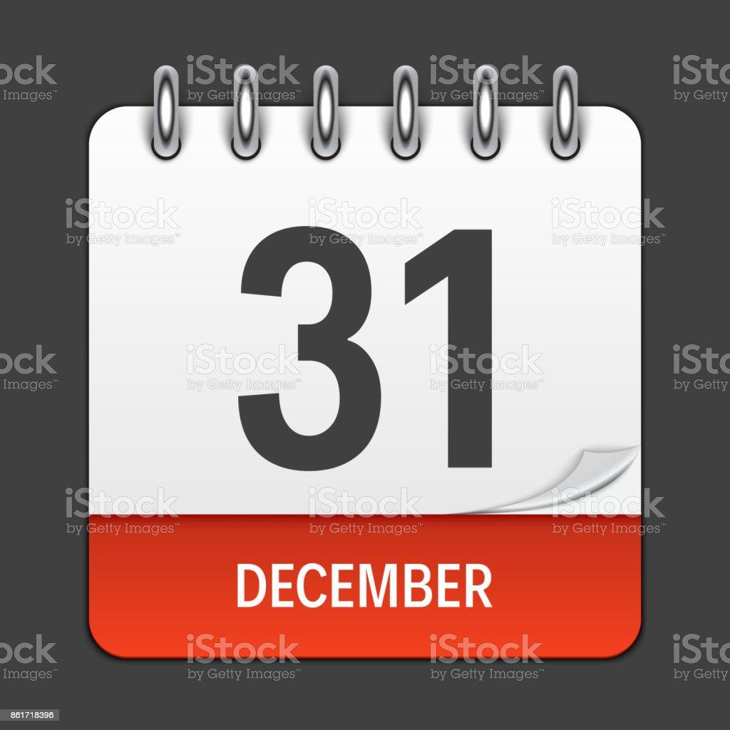 31 décembre quotidienne de l'icône calendrier. Vector Illustration emblème. Élément de conception pour les Applications et les Documents Office de décoration. Logo du jour, Date, mois et vacances - Illustration vectorielle