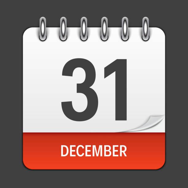 12 月 31 日毎日カレンダーのアイコン。ベクトル図の紋章。装飾 office ドキュメントとアプリケーションの設計の要素。曜日、日付、月および休日のロゴ - カレンダー点のイラスト素材/クリップアート素材/マンガ素材/アイコン素材