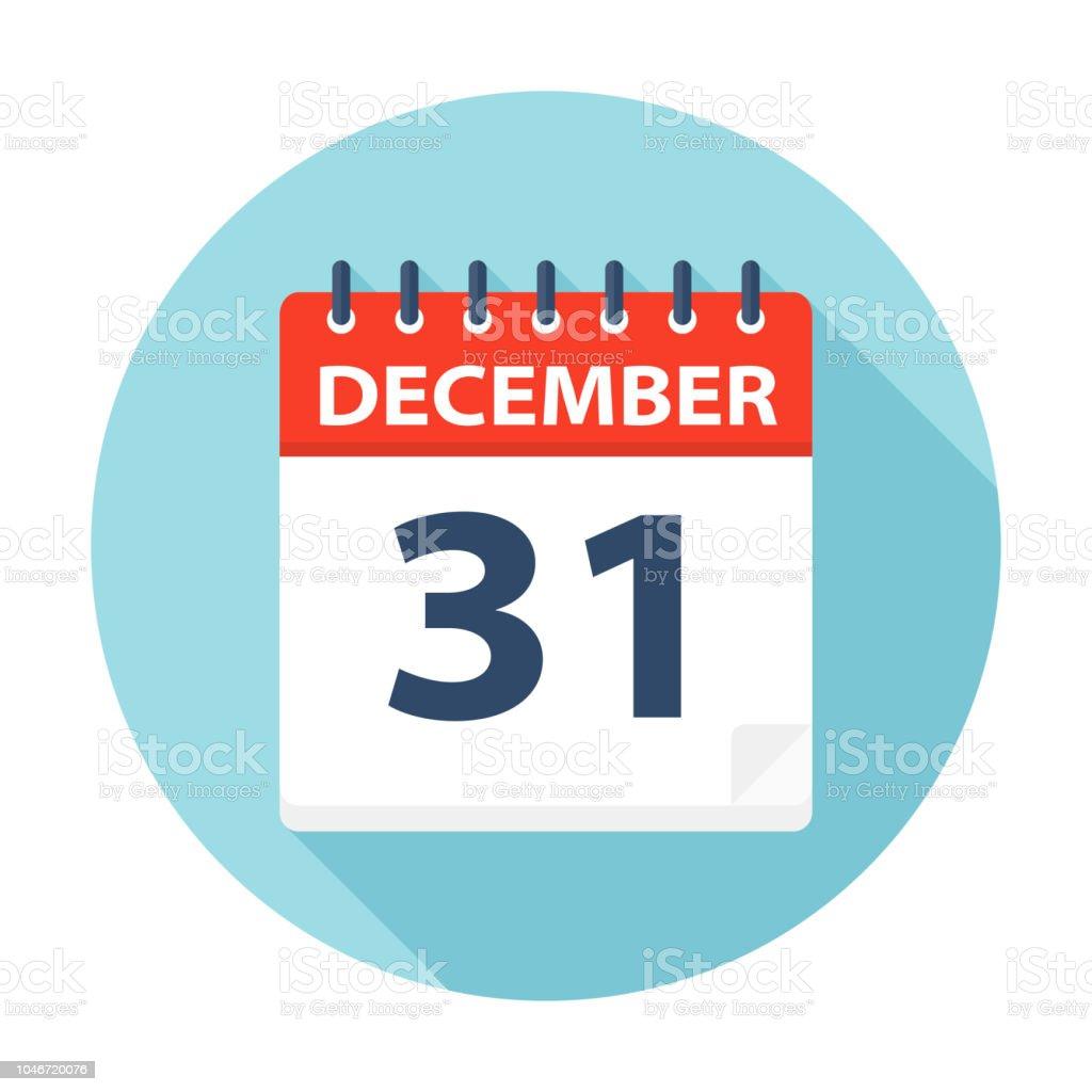 31 december - pictogram van de kalender - Royalty-free 2018 vectorkunst