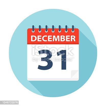 December 31 - Calendar Icon - Vector Illustration