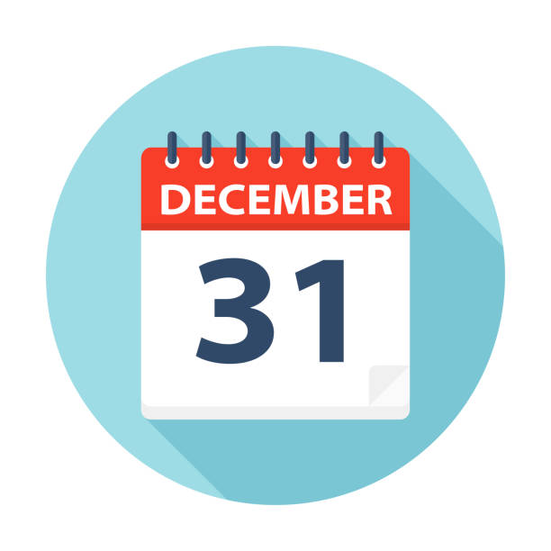 illustrazioni stock, clip art, cartoni animati e icone di tendenza di december 31 - calendar icon - dicembre