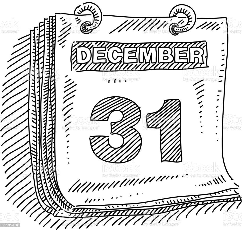 Dibujo calendario el 31 de diciembre - ilustración de arte vectorial