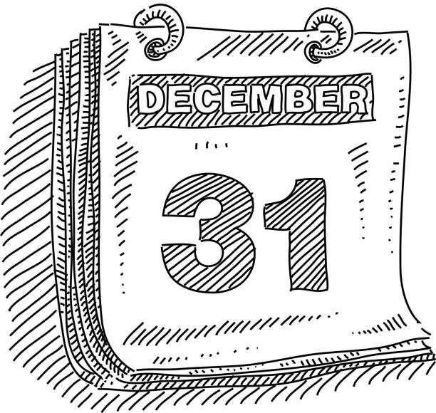 December 31 calender Drawing vector art illustration