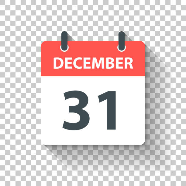 illustrazioni stock, clip art, cartoni animati e icone di tendenza di december 31 - daily calendar icon in flat design style - dicembre
