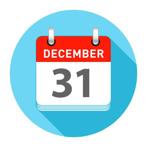 stockillustraties, clipart, cartoons en iconen met 31 december eendaagse kalender vlakke stijl - december