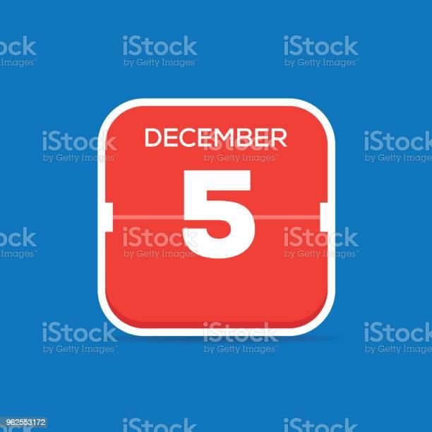 Vetores de 5 De Dezembro Calendar Ícone Plana e mais imagens de A Data