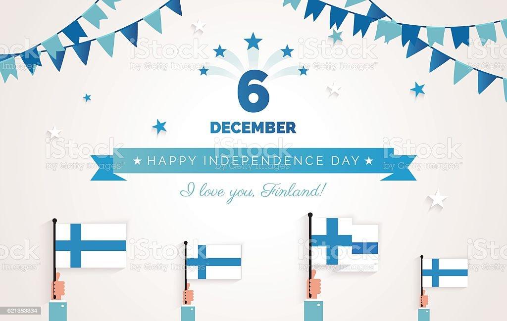 December 6th, Finland, Finnish Independence Day greeting card. – Vektorgrafik