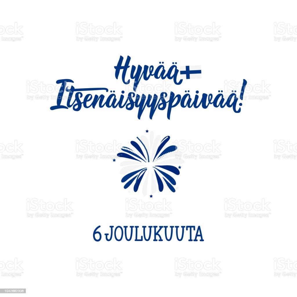 Am 6. Dezember, Finnland Independence Day-Grußkarte. Übersetzung aus dem finnischen: 6. Dezember, Happy Independence Day – Vektorgrafik