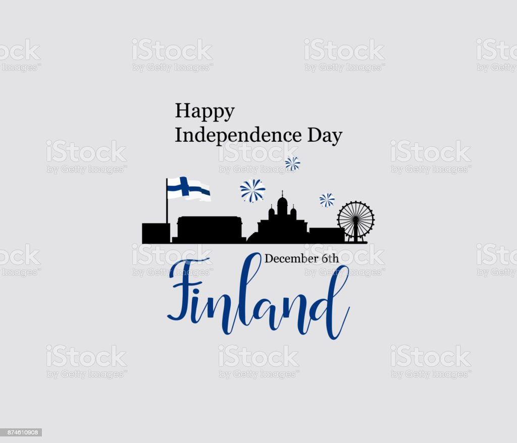 December 6th, Finland, Independence Day greeting card. vector art illustration