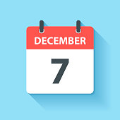 December 7. Calendar Icon with long shadow in a Flat Design style. Daily calendar isolated on blue background. Vector Illustration (EPS10, well layered and grouped). Easy to edit, manipulate, resize or colorize.
