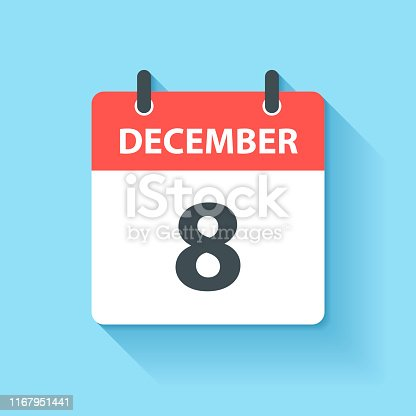 December 8. Calendar Icon with long shadow in a Flat Design style. Daily calendar isolated on blue background. Vector Illustration (EPS10, well layered and grouped). Easy to edit, manipulate, resize or colorize.