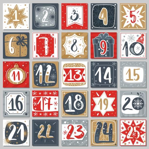 illustrations, cliparts, dessins animés et icônes de calendrier de l'avent de décembre. étiquettes imprimables de compte à rebours d'affiche de noël avec l'ornement de noël, modèle de vecteur de carte postale d'hiver - calendrier de l'avent