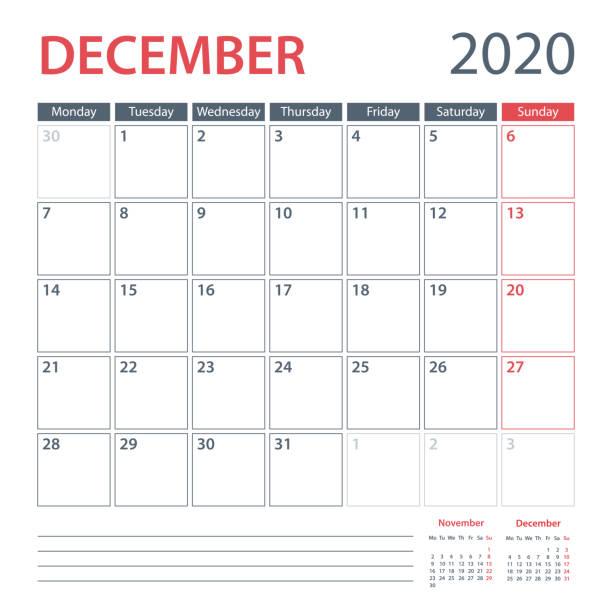stockillustraties, clipart, cartoons en iconen met 2020 december kalender planner vector sjabloon. week start maandag - december