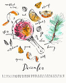 December calendar with ink calligraphy elements and mulled wine recipe ingredients. Winter drink in a pot, pine branch, orange, zest, spice ink and watercolor stain illustration.