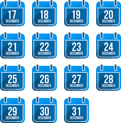 December Calendar With Long Shadow Days Of Year Set 5 Stock Illustration - Download Image Now