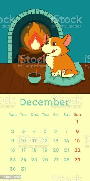 December calendar with welsh corgi dog drinking hot chocolate on cozy vector id1086383230?b=1&k=6&m=1086383230&s=612x612&h=wmvscfa xu f cbwcxegydninco9xqbwxha5pndpexa=